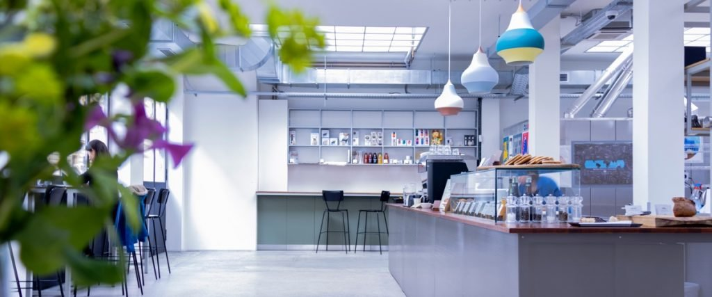 trendy corporate cafeteria space